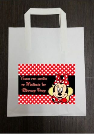 4 x Minnie Mouse Birthday Party Bags with Personalised Sticker